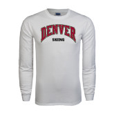 White Long Sleeve T Shirt-Skiing