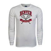 White Long Sleeve T Shirt-Lacrosse 50th Anniversary