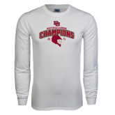 White Long Sleeve T Shirt-Mens NCAA Lacrosse Champs