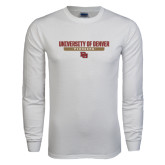 White Long Sleeve T Shirt-University of Denver Pioneers Bar Stacked