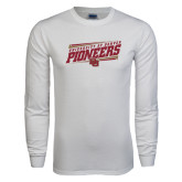 White Long Sleeve T Shirt-University of Denver Pioneers Slanted w/ Logo