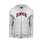 ENZA Ladies White Fleece Full Zip Hoodie-Arched Denver