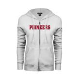 ENZA Ladies White Fleece Full Zip Hoodie-Pioneers