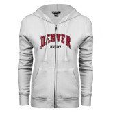 ENZA Ladies White Fleece Full Zip Hoodie-Rugby