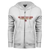 ENZA Ladies White Fleece Full Zip Hoodie-University of Denver Pioneers Bar Stacked