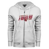 ENZA Ladies White Fleece Full Zip Hoodie-University of Denver Pioneers Slanted w/ Logo