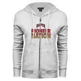 ENZA Ladies White Fleece Full Zip Hoodie-Pioneer Nation
