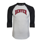 White/Black Raglan Baseball T-Shirt-Arched Denver