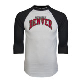 White/Black Raglan Baseball T-Shirt-Arched University of Denver