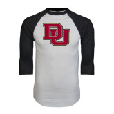 White/Black Raglan Baseball T-Shirt-DU