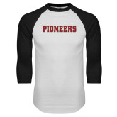 White/Black Raglan Baseball T Shirt-Pioneers
