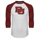 White/Cardinal Raglan Baseball T Shirt-DU