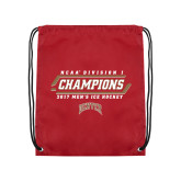 Nylon Cardinal Drawstring Backpack-2017 NCAA Division I Mens Hockey Champions