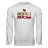 Syntrel Performance White Longsleeve Shirt-Basketball Repeating
