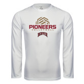 Syntrel Performance White Longsleeve Shirt-Pioneers Volleyball Geometric Half Ball
