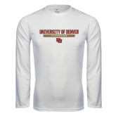 Syntrel Performance White Longsleeve Shirt-University of Denver Pioneers Bar Stacked