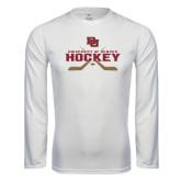 Syntrel Performance White Longsleeve Shirt-University of Denver Hockey Crossed Sticks