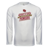 Syntrel Performance White Longsleeve Shirt-Pioneers Hockey Slanted Banner Text
