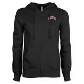 ENZA Ladies Black Fleece Full Zip Hoodie-University of Denver