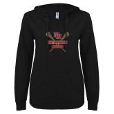 ENZA Ladies Black V Notch Raw Edge Fleece Hoodie-Denver Pioneers Lacrosse