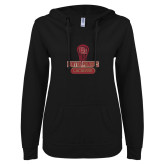 ENZA Ladies Black V Notch Raw Edge Fleece Hoodie-DU Lacrosse