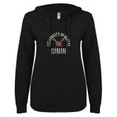 ENZA Ladies Black V Notch Raw Edge Fleece Hoodie-Pioneers Lacrosse