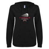 ENZA Ladies Black V Notch Raw Edge Fleece Hoodie-Pioneers Lacrosse Denver