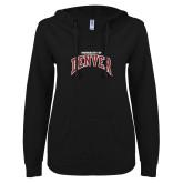 ENZA Ladies Black V Notch Raw Edge Fleece Hoodie-University of Denver