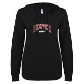 ENZA Ladies Black V Notch Raw Edge Fleece Hoodie-Denver Hockey