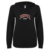 ENZA Ladies Black V Notch Raw Edge Fleece Hoodie-Denver Rugby
