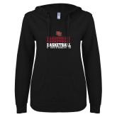 ENZA Ladies Black V Notch Raw Edge Fleece Hoodie-DU Basketball