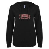 ENZA Ladies Black V Notch Raw Edge Fleece Hoodie-JR Pioneers Hockey