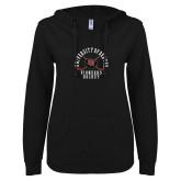 ENZA Ladies Black V Notch Raw Edge Fleece Hoodie-Pioneers Hockey