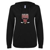 ENZA Ladies Black V Notch Raw Edge Fleece Hoodie-Pioneer Pride DU Hockey