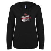 ENZA Ladies Black V Notch Raw Edge Fleece Hoodie-University of Denver Pioneers Hockey