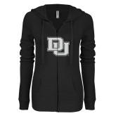 ENZA Ladies Black Light Weight Fleece Full Zip Hoodie-Primary Mark White Soft Glitter