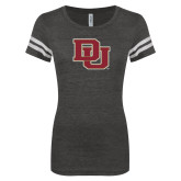 ENZA Ladies Black/White Vintage Football Tee-DU