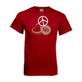 Cardinal T Shirt-Peace, Love, and Volleyball