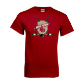 Cardinal T Shirt-Denver Pioneers Hockey Emblem w/Sticks