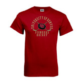 Cardinal T Shirt-Arched University of Denver Pioneers Hockey w/Sticks