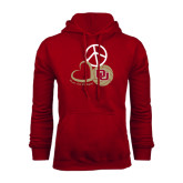 Cardinal Fleece Hood-Peace, Love, and Volleyball