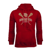 Cardinal Fleece Hood-DU Crossed Lacrosse Sticks
