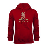 Cardinal Fleece Hood-DU Hockey w/Crossed Sticks