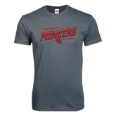 Next Level SoftStyle Charcoal T Shirt-University of Denver Pioneers Slanted w/ Logo