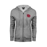 Ladies Grey Fleece Full Zip Hoodie-DU
