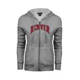 Ladies Grey Fleece Full Zip Hoodie-Arched Denver