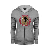 Ladies Grey Fleece Full Zip Hoodie-Skier Jumping Ski Design
