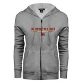 ENZA Ladies Grey Fleece Full Zip Hoodie-University of Denver Pioneers Bar Stacked