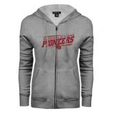 ENZA Ladies Grey Fleece Full Zip Hoodie-University of Denver Pioneers Slanted w/ Logo