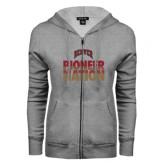 ENZA Ladies Grey Fleece Full Zip Hoodie-Pioneer Nation